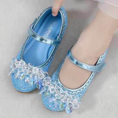 女童皮鞋新款春秋韩版单鞋花童时尚小孩表演舞蹈公主水晶鞋