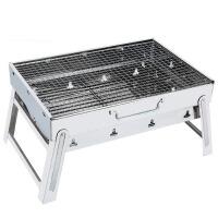不锈钢烧烤炉家用户外烧烤架 便携加厚折叠野外木炭烧烤工具全套 大号套三:(不锈钢网)+12件套