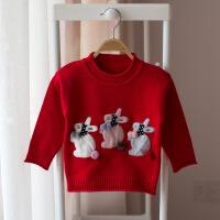 女童毛衣套头秋冬2018新款女宝宝洋气针织衫1一3岁4儿童加绒打底
