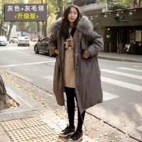 反季羽绒女中长款冬天外套大毛领棉衣女韩版加厚过膝学生棉袄