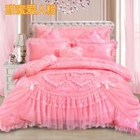 婚庆床品四件套棉床罩被套结婚床上用品六七八件套大红粉色 甜蜜爱人 粉玉
