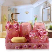 创意牙具洗漱套件漱口杯 树脂卫浴五件套新婚套装欧式浴室用品 +托盘