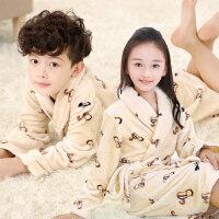 童装儿童加厚睡袍男女童秋冬季法兰绒浴袍中大童珊瑚绒睡衣家居服