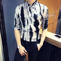 潮流花衬衫男士中袖2018新款薄韩版发型师衬衣七分袖帅气修身寸衫 白色 8568款