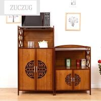 ZUCZUG厨房置物架3层4层微波炉架了落地多层柜实木收纳橱柜客厅储物架竹 三层四层一套 茶色