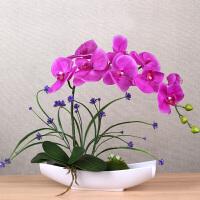 感蝴蝶兰套装假花盆栽装饰花中式餐桌家居客厅玄关摆件花艺