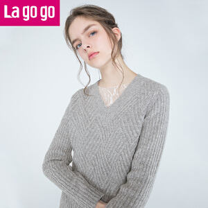 【2.20-2.26每满100减50】Lagogo/拉谷谷2017冬季新款V领长袖针织衫两件套