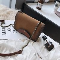 2018冬季新款女包时尚单肩斜跨包潮韩版复古小方包包链条包磨砂包
