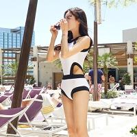 新款小胸保守黑色罩衫连体泳衣显瘦遮肚比基尼温泉泳衣女
