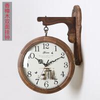 欧式双面挂钟现代客厅实木田园复古石英时钟两面创意静音大号壁钟 原木色(送相框) 14英寸