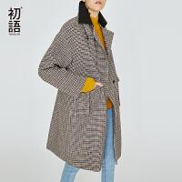 初语毛呢外套女中长款韩版2018新款防风扣千鸟格羊毛宽松呢子大衣