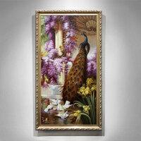 欧式油画手绘客厅壁画孔雀走廊挂画竖版玄关装饰画过道美式餐厅画 150*240 7-10天发货