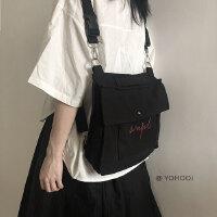 YOHOO!/ 双肩书包男女中性原创设计ins百搭款纯色单肩斜跨帆布包