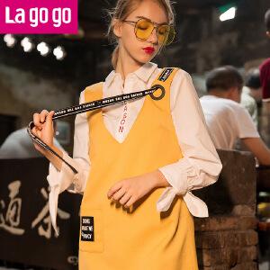 Lagogo/拉谷谷2017年秋新款个性V领无袖背心吊带连衣裙