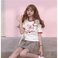 夏季新款女装韩版学生宽松日系少女印花短款上衣短袖T恤圆领2018