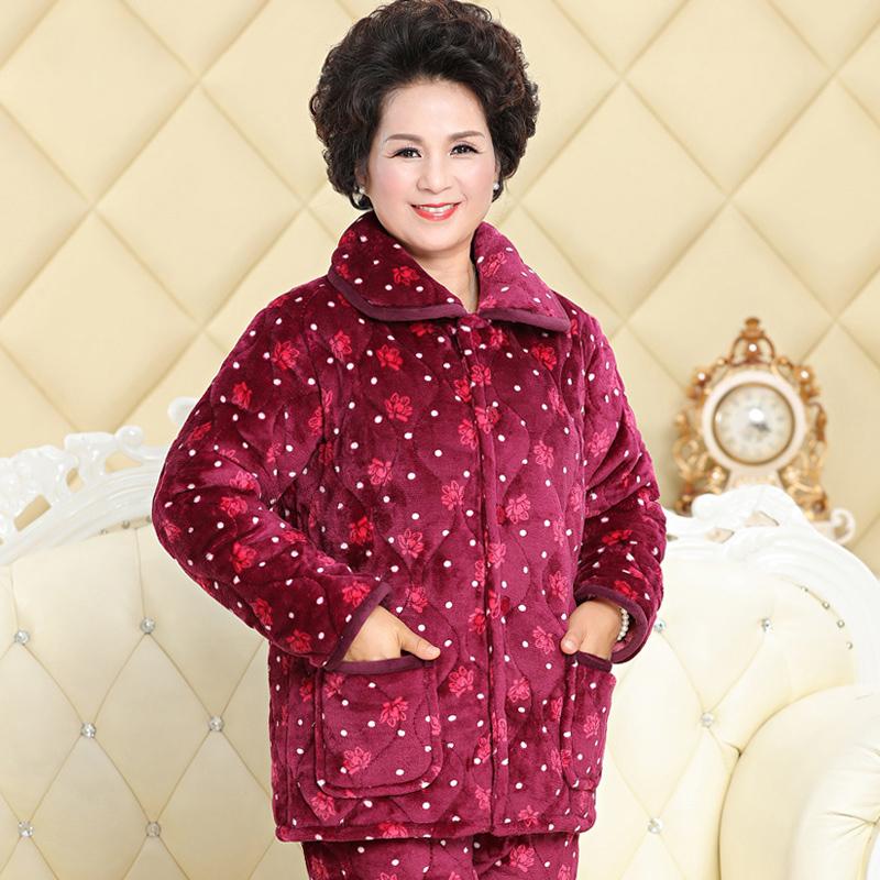 中老年秋冬季女士法兰绒夹棉睡衣冬天妈妈款三层加厚保暖家居服