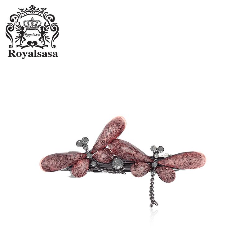 皇家莎莎发夹发卡头饰品蜻蜓水钻横夹顶夹一字夹刘海夹马尾弹簧夹 秋冬上新