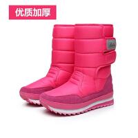 冬季新款短靴加绒雪地靴防水加厚保暖棉鞋女靴子中筒厚底学生女鞋 玫红色 加厚