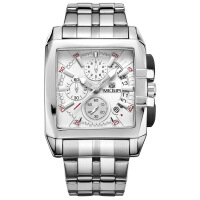 2018新款 美格尔MEGIR钢带男士手表运动户外男表方形手表2018