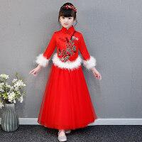 女童红色长袖新年装拜年服儿童中国风古筝演出服加厚加绒旗袍裙冬 红色