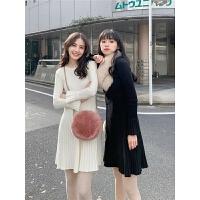 针织毛衣裙秋冬圆领纯色中长裙女