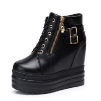 内增高短靴女鞋2018秋冬季新款女士坡跟厚底马丁靴双皮扣加绒棉靴 黑色皮扣款