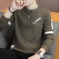 男士T恤长袖上衣服秋装学生秋衣青少年韩版卫衣薄款体恤男针织衫yly 小羽毛 卡其色
