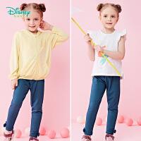 迪士尼Disney童装 女童针织仿牛仔长裤春季新品女孩俏皮蝴蝶节打底裤191K824