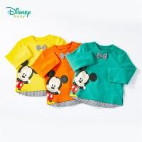 迪士尼Disney童装 男童T恤绅士风米奇卡通印花长袖上衣春季新品拼接衣服201S1320