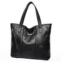 包包女秋冬新款欧美拼接羊皮时尚真皮单肩手提大包大容量女包 黑色