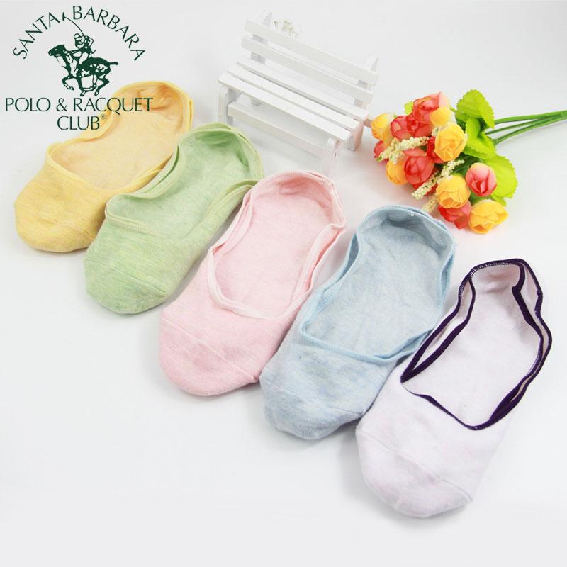圣大保罗Polo防滑隐形袜女硅胶浅口透气袜子韩版糖果色船袜夏季新8241 5双混色夏季新品