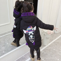 儿童棉衣女冬装2018新款韩版小女孩洋气加厚棉袄中长款大女童