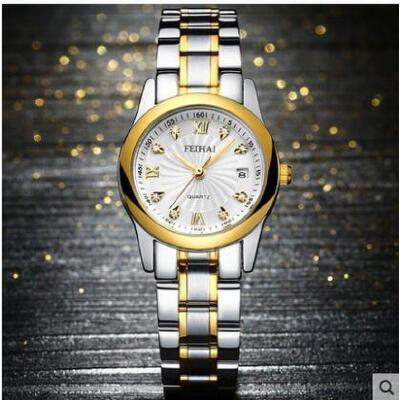 手表女韩版时尚女表防水复古石英表防水钢带日历时装表 品质保证 售后无忧 支持货到付款