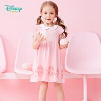 【3件3折到手价:51.3】迪士尼Disney童装女童连衣裙夏款新品娃娃领宝宝衣服休闲后开扣小飞袖公主裙子