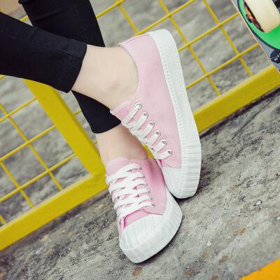乌龟先森  帆布鞋女士韩版新款单色低帮系带小白鞋时尚休闲女式原宿休闲鞋白搭款鞋子 韩版新款单色时尚帆布鞋