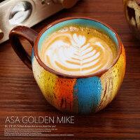 复古马克杯大容量早餐杯燕麦杯咖啡杯牛奶杯水杯子陶瓷杯带盖带勺
