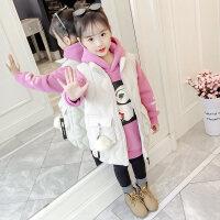 女童套装冬装2018新款儿童洋气韩版冬季加绒加厚卫衣马甲两件套潮