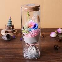 元旦节永生花玫瑰花礼盒七夕情人节创意礼物玻璃罩花束送女友老婆