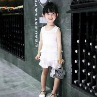女童连衣裙夏装儿童的公主裙2018新款韩版雪纺宝宝裙子小女孩童装 白色 90cm(5码/建议身高90cm)