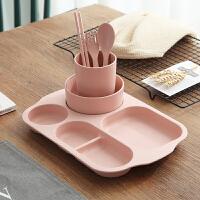 小麦秸秆儿童餐具宝宝学吃饭勺叉筷套装防摔餐碗卡通分格餐盘A