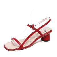 WARORWAR 2019新品YN8-1920夏季韩版粗跟低跟女鞋潮流时尚潮鞋百搭潮牌凉鞋女