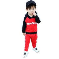 男宝宝秋冬装套装0一1-2-3岁韩版潮男童卫衣加绒儿童金丝绒两件套