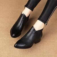 2018秋冬新款女短靴单靴粗跟马丁靴尖头短筒及踝靴牛皮女靴
