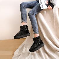 小短靴女2018新款厚底户外雪地靴女棉鞋短筒内增高防水亮皮面包鞋SN1720