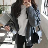 韩国毛衣女开衫潮 秋冬新款女装纯色V领针织衫大码外套xx 均码(现货)