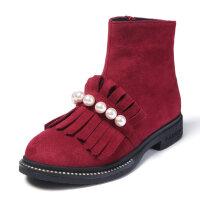 女童靴子小短靴2018新款秋季加绒冬二棉中大童公主韩版儿童雪地靴