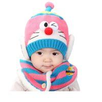 儿童围脖套装 冬季男女宝宝保暖毛线帽 婴儿帽子围巾 针织帽子