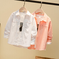 童装男童白衬衫长袖儿童纯色衬衣春秋款中童学生校服表演出服上衣