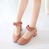 2017新款夏季韩版女童单鞋高跟花朵小女孩皮鞋中大童儿童公主鞋潮