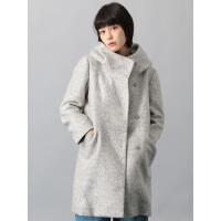 女秋冬毛呢大衣 中长款花苞领日系气质甜美外套X
